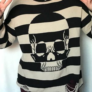 Iron Fist striped skull deconstructed sweater M